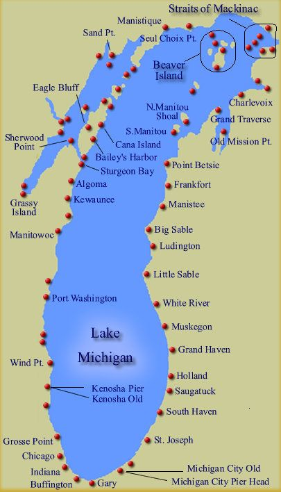 Map Of Lake Michigan I basically recommend any of these cities on Lake Michigan (ocean