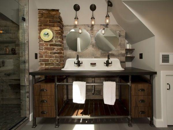 Bagno Legno Grezzo : Bagno in stile industriale: materiali di recupero come il legno