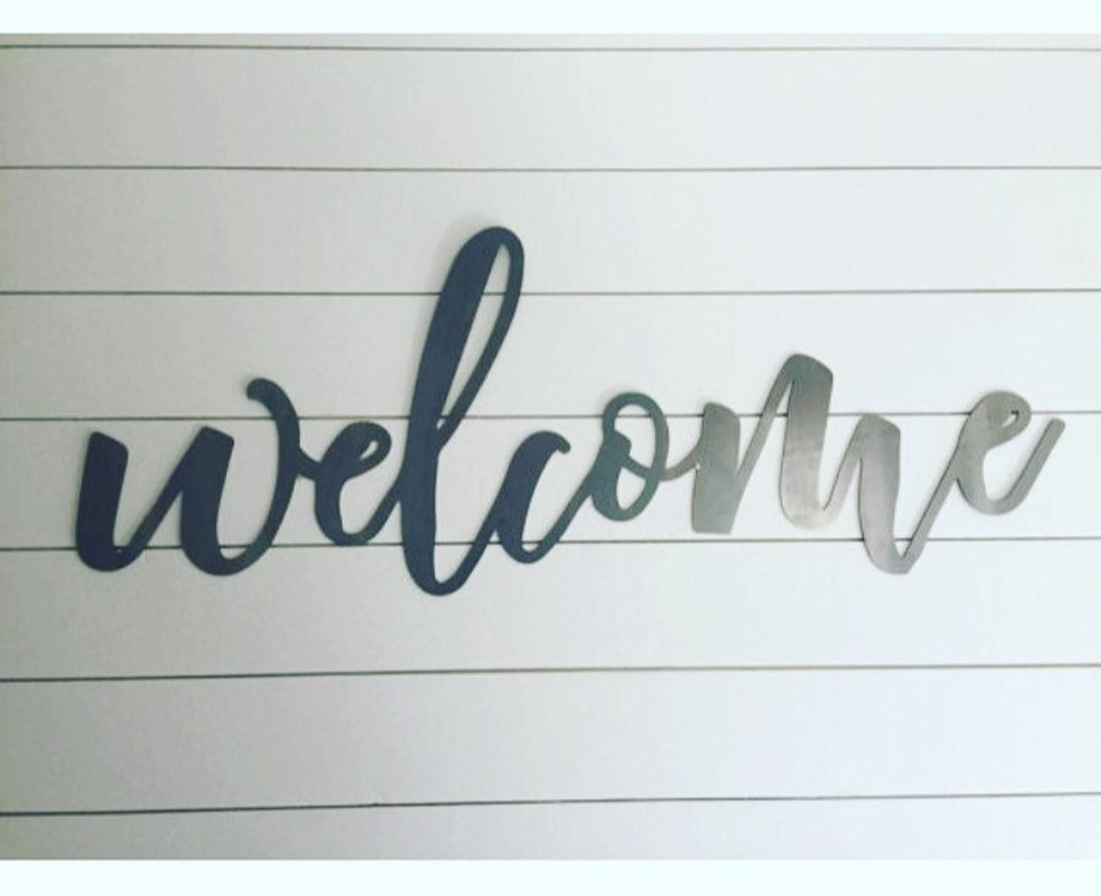 Metal Welcome Sign Steel Welcome Sign Large Welcome Sign Small Welcome Sign Black Welcome Sign Metal Welcome Sign Metal Working Patio Signs