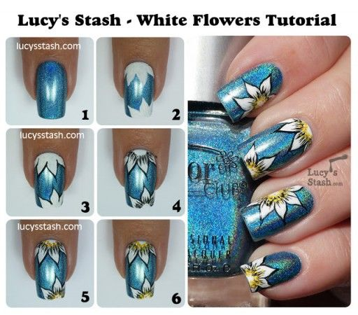 Another Flower Nail Tutorial: DIY White Flower Nail Art Manicure Step By Step Tutorial