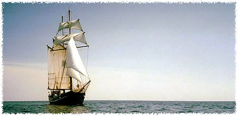 The tallship Unicorn - square topsail, gaff-rigged schooner