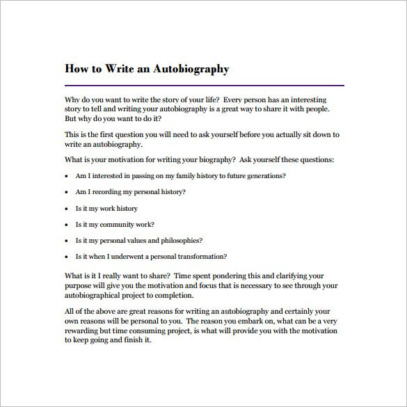 Autobiography Outline Template \u2013 17+ Free Word, PDF Documents