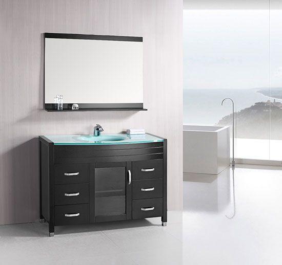 Design Element Waterfall Single 48 Inch Espresso Modern Bathroom