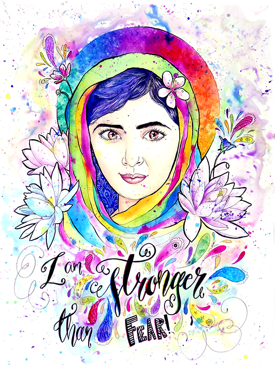 I Am Stronger Than Fear Malala Yousafzai This Piece Was Painted