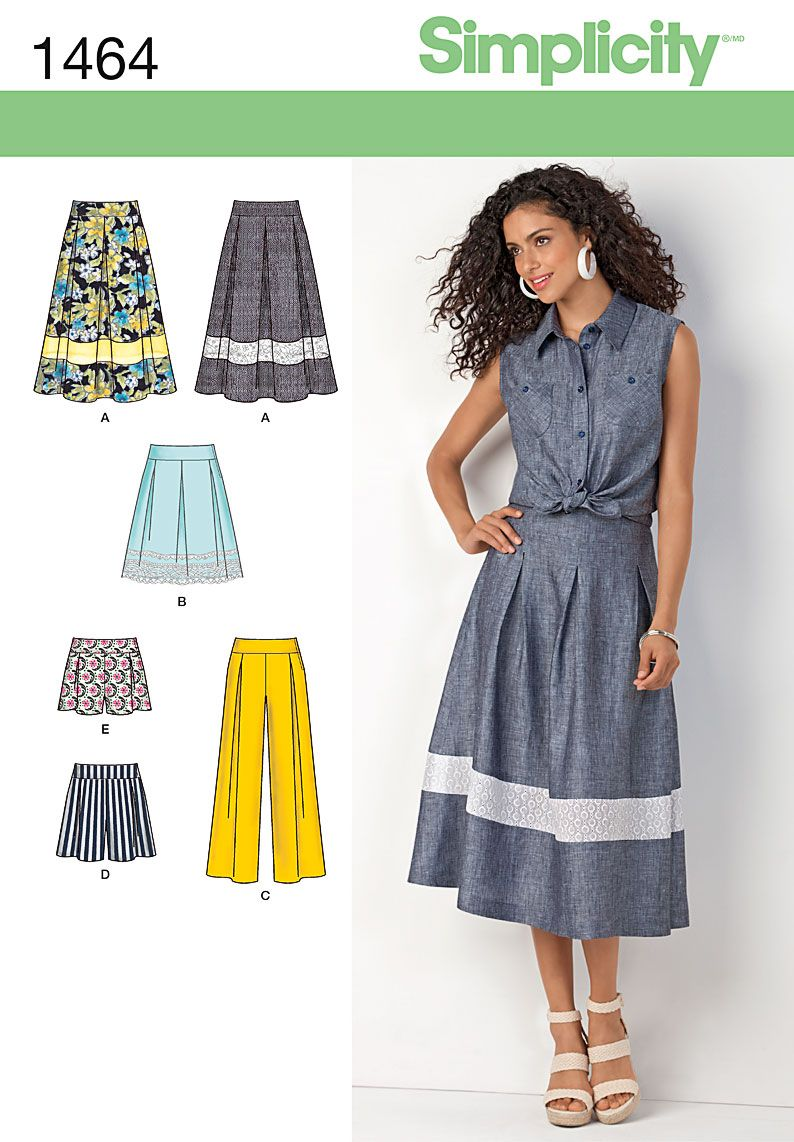 Sew a summer skirt, shorts and wide leg pants with Simplicity ...