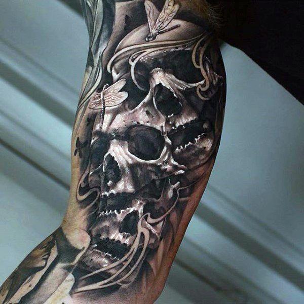 Skulls Inner Arm Tattoos For Gentlemen | tattoos ...