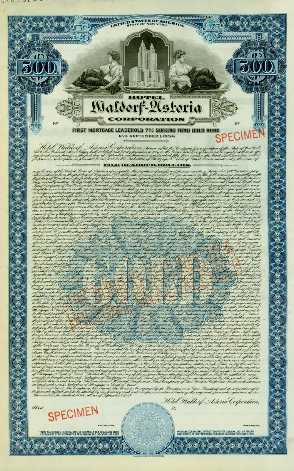 Hotel Waldorf Astoria Corporation Stock Certificates Tesla Motors Gold Bond