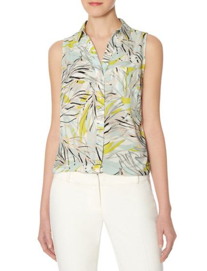 8a731f9bdf181 Printed Sleeveless Ashton Blouse from THELIMITED.com
