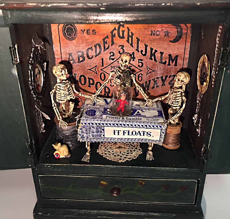 Haunted house, creepy, seance, occult, Halloween, ouija, vintage, horror, freaks, spooky, OOAK, assemblage art, oddities, macabre, mayhem
