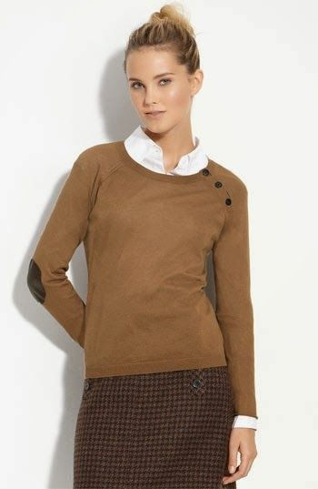 Fashion Is Life Beautiful Brown Elbow Patch Sweater With Mini Short