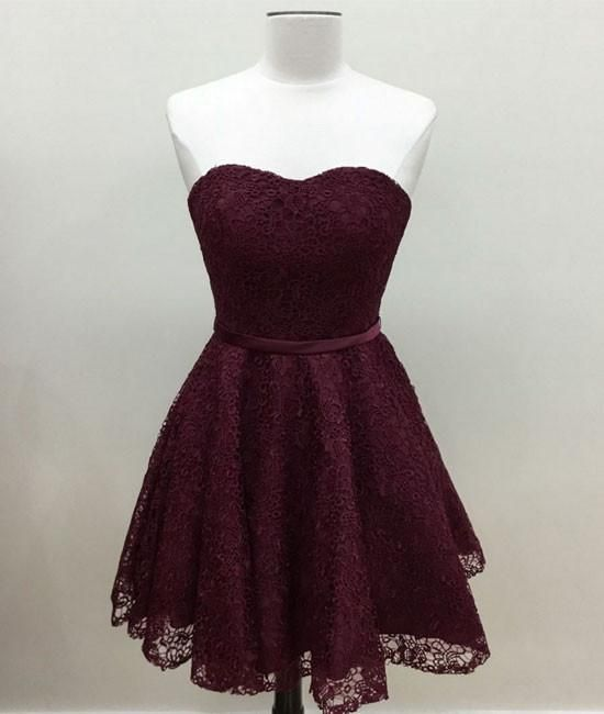 c2cb75b1d726 Simple A-Line Sweetheart Burgundy Lace Short Homecoming Dress ...