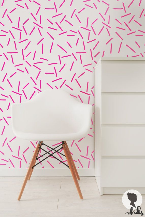 Pink Baby Girls Room Peel And Stick Wallpaper Removable Wall Etsy Wall Decals For Bedroom Removable Wallpaper Pink Girl Room