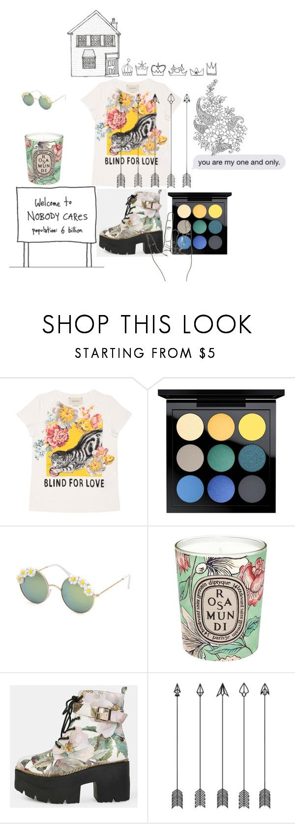 """""""Flowers"""" by rebecioatto ❤ liked on Polyvore featuring Gucci, MAC Cosmetics, Full Tilt and Diptyque"""