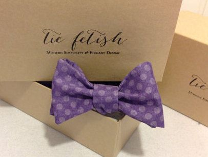 Boys purple and lavender dot pre tied bow tie by TieFetish