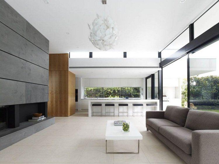 Meubles De Salon Ultra Moderne Ouvert En Gris Taupe Et Blanc Maison Moderne Interieur Design Moderne Interieur De Maison Meuble Salon