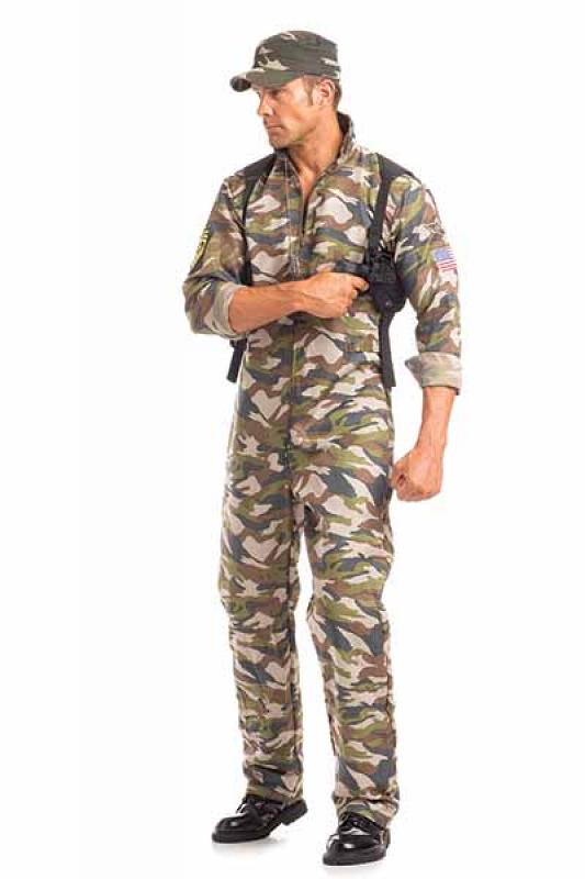 Army Zip Front Jumpsuit Military Soldier Commander Halloween Costume Adult Men