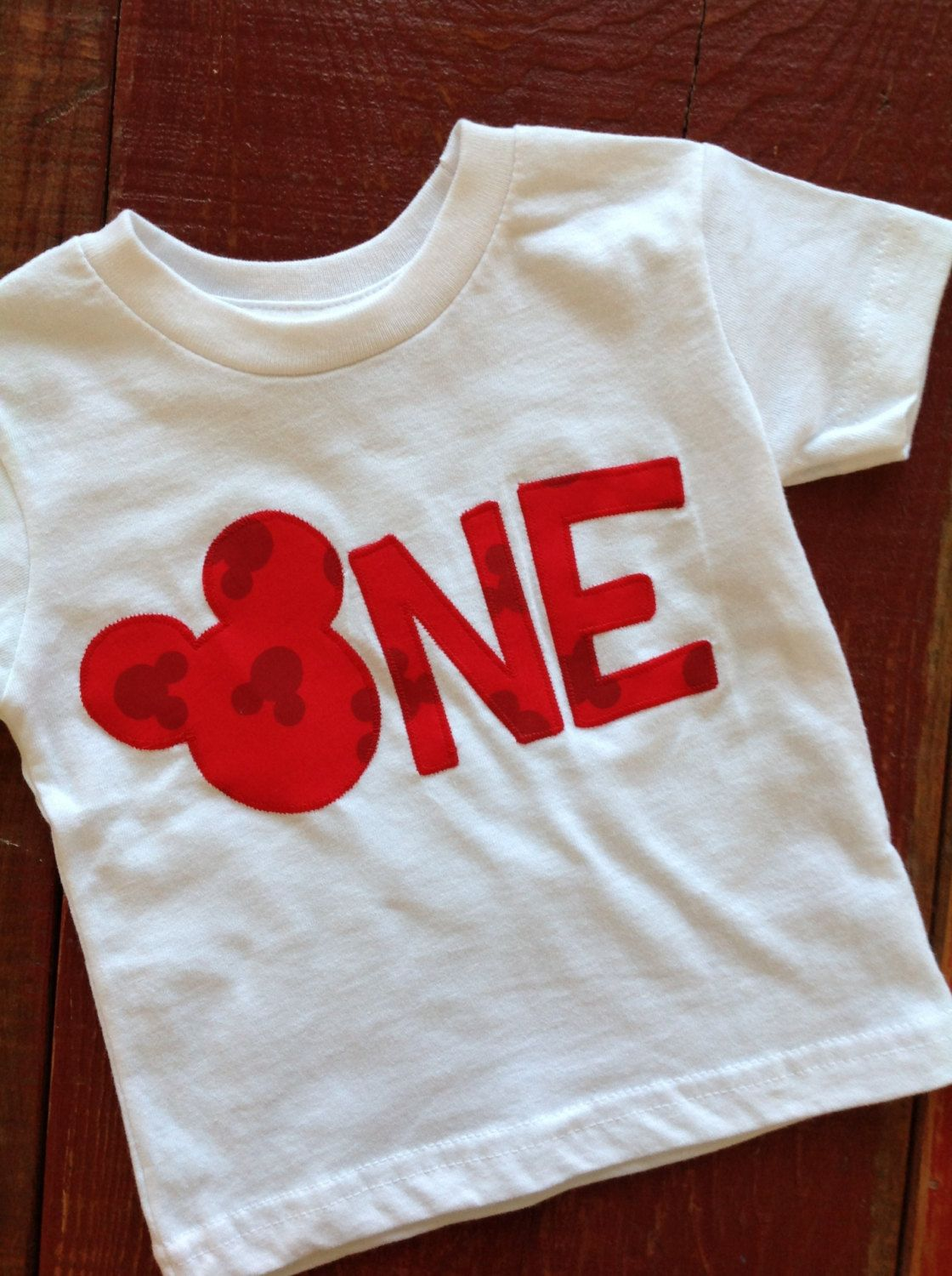Mickey Mouse first birthday tee in Red by