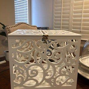 Wedding Card Box with slot-Wedding Gift-Keepsake Box with lock-Wedding money box-Wedding card money holder-White Card Holder-Gift card box