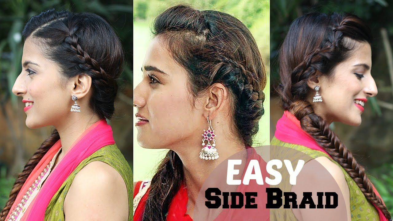 5 minute easy side braided indian hairstyle | easy side