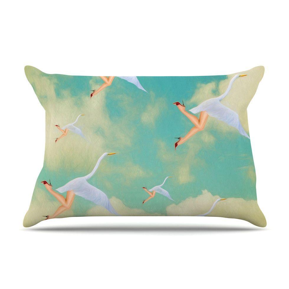 """Natt """"Swan"""" Teal Yellow Pillow Case"""