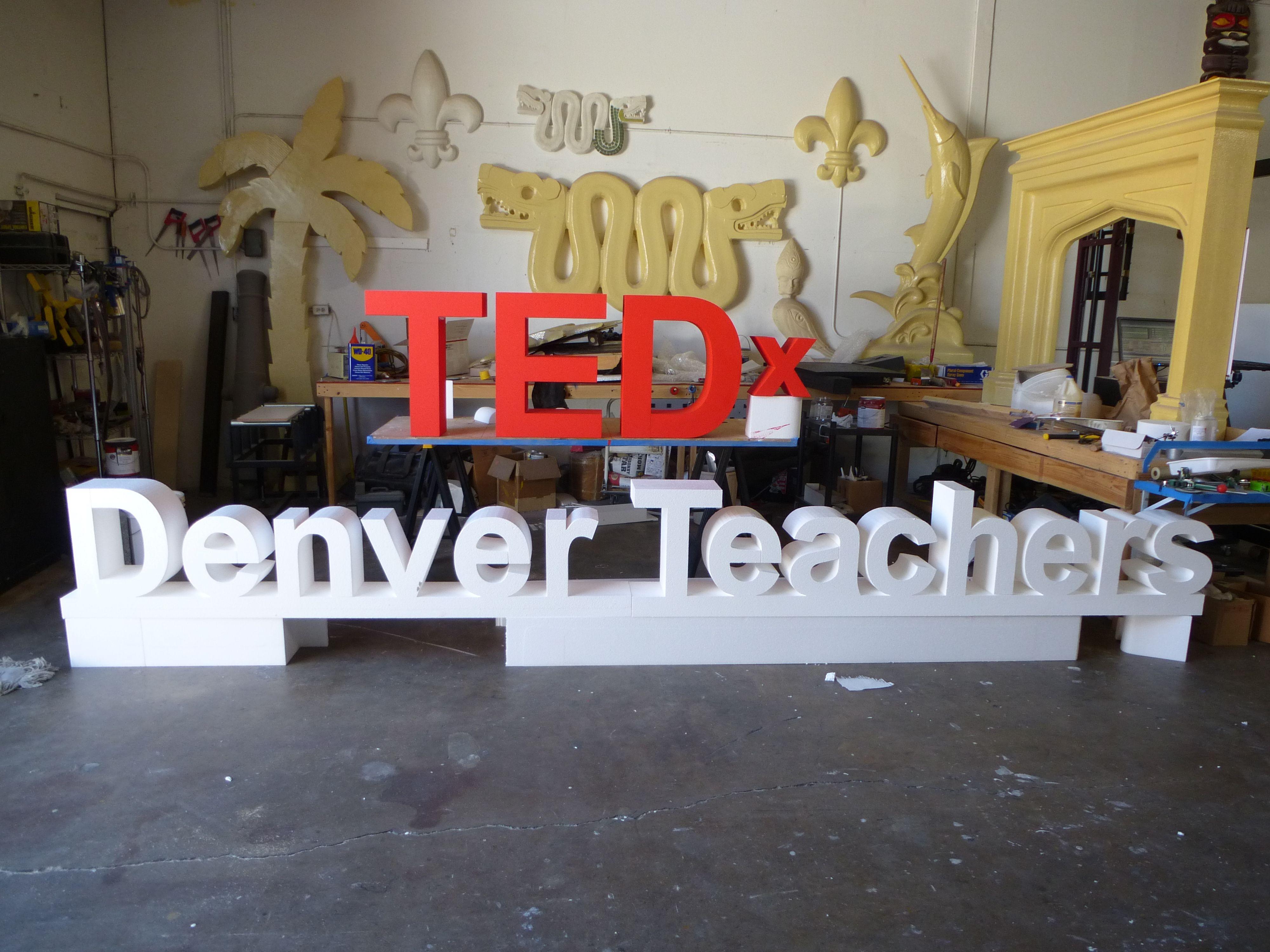 Eps foam dimensional lessters sign for tedx by wecutfoam