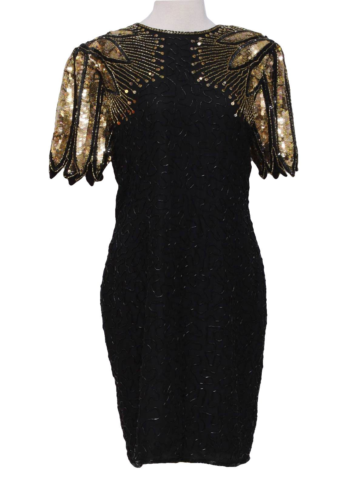 Stenay Eighties Vintage Cocktail Dress 80s Stenay Womens Black Background Silk Polyester Lined Mid Leng Vintage Sequins Dress Sequin Cocktail Dress Dresses [ 1593 x 1200 Pixel ]