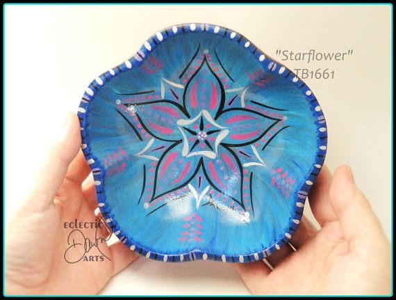 #Star #Flower Handpainted Wood #TrinketBowl OOAK by EclecticDawnArts http://etsy.me/2cRarmR via @Etsy #etsygifts #GardenerGift