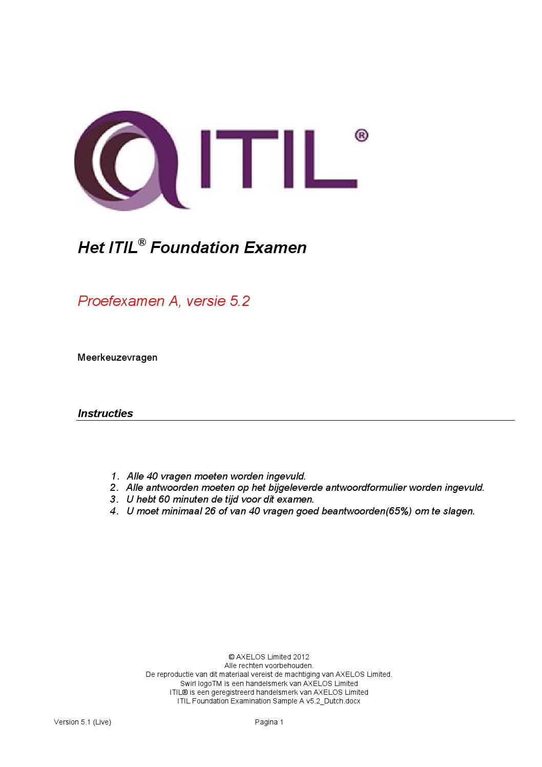 Proefexamen Itil V3 Foundation 2012 40 Vragen En Antwoorden Itil