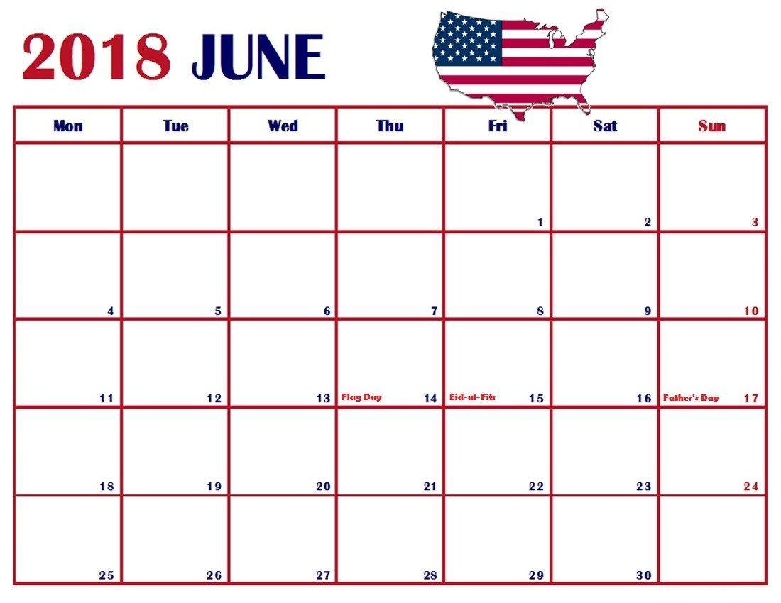 June 2018 USA Holidays Calendar | Calendar 2018 | Pinterest