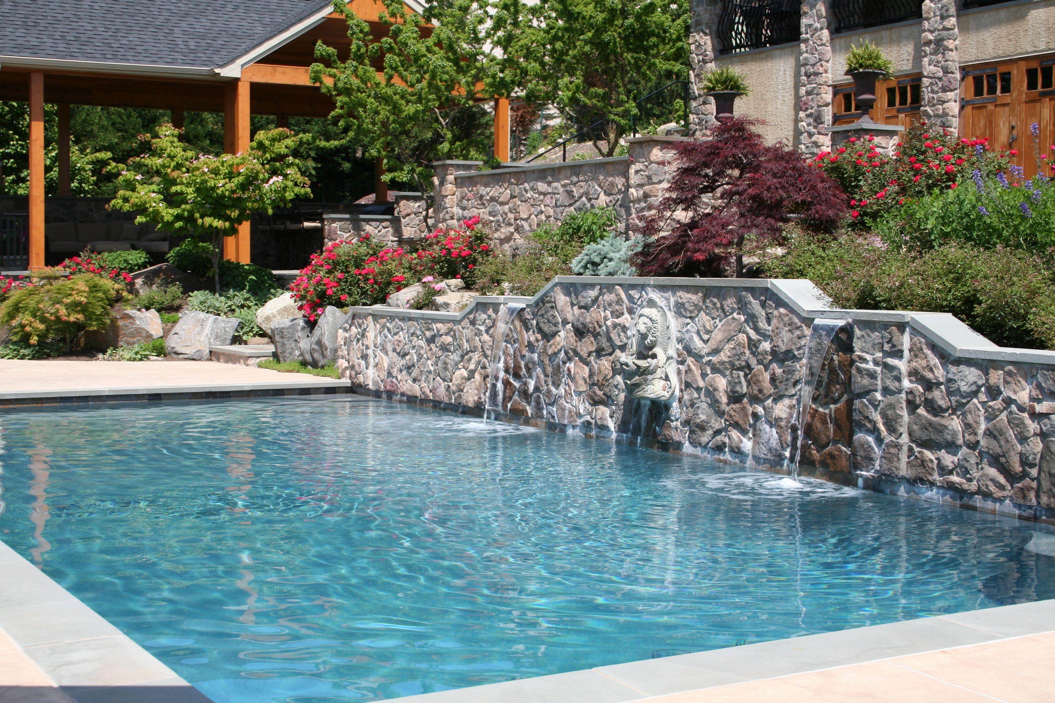 Geometric Gunite Plaster In Ground Pool Gray Quartz Finish Custom Raised Bond Beam Water