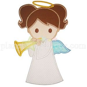 Girl Angel Applique Winter And Christmas Embroidery Designs