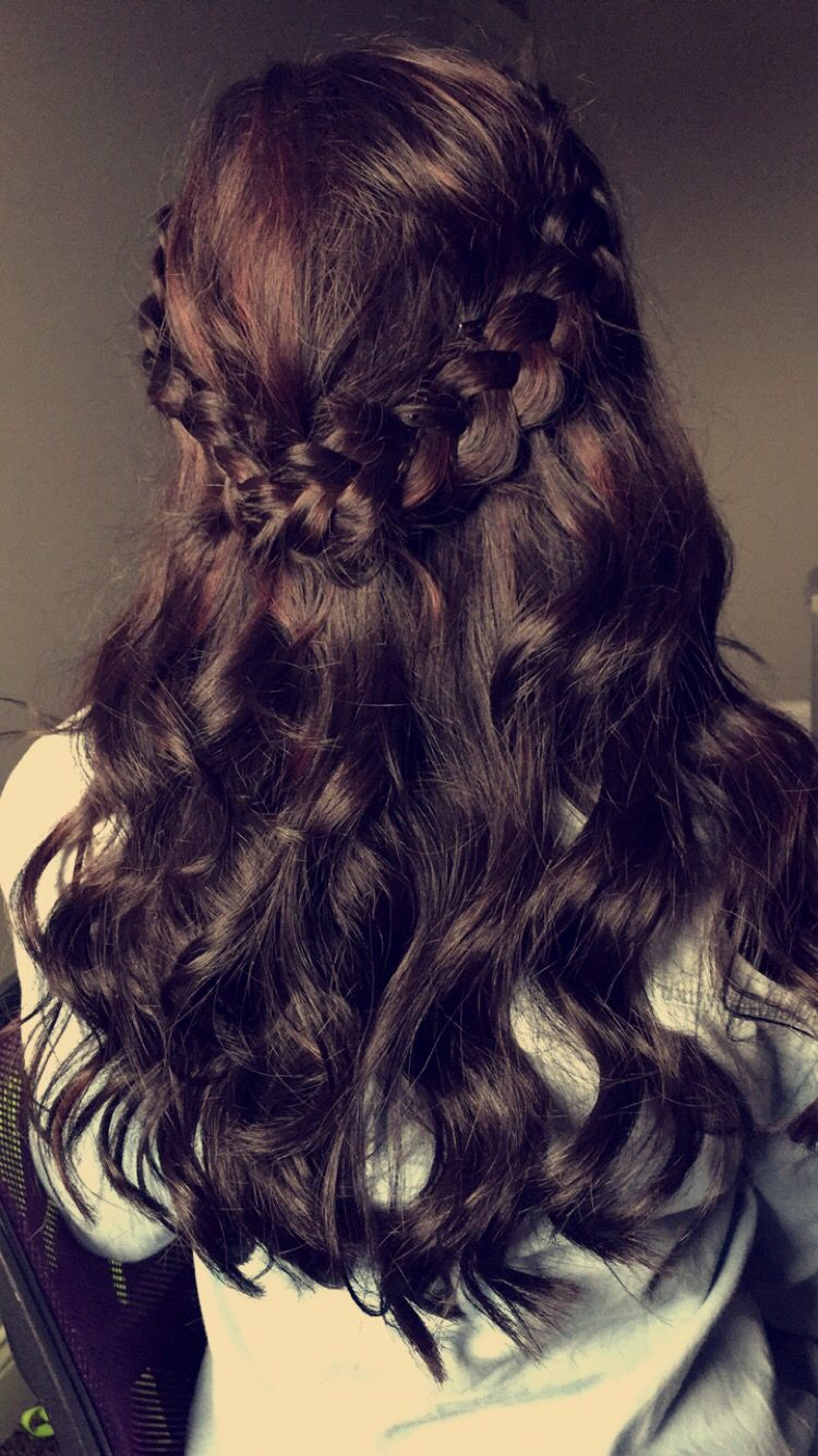 #halfuphalfdown #burgundy #dance #braid #crownbraid did all by myself and this is a great way to save money!