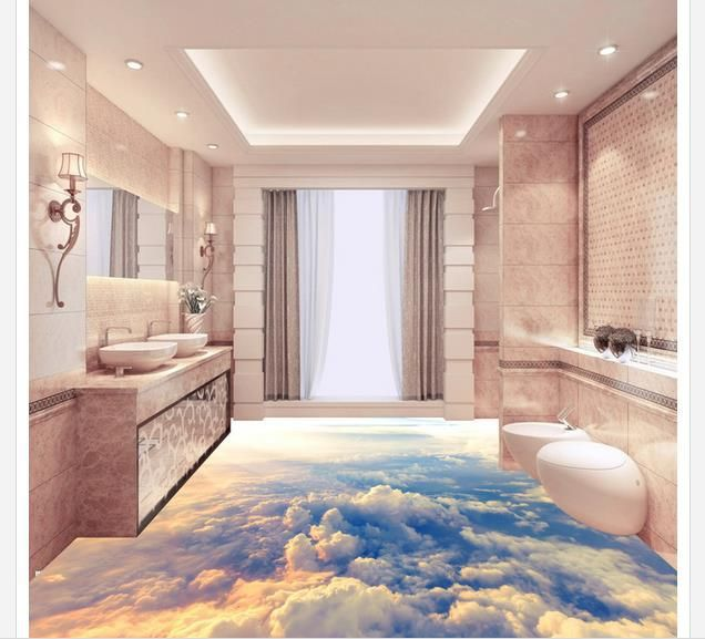 Custom Photo Floor Wallpaper 3d Stereoscopic 3d Clouds Floor 3d Mural Pvc Wallpaper Self Adhesion Floor Wallpa Bodengestaltung Haus Umbau Traumhafte Badezimmer