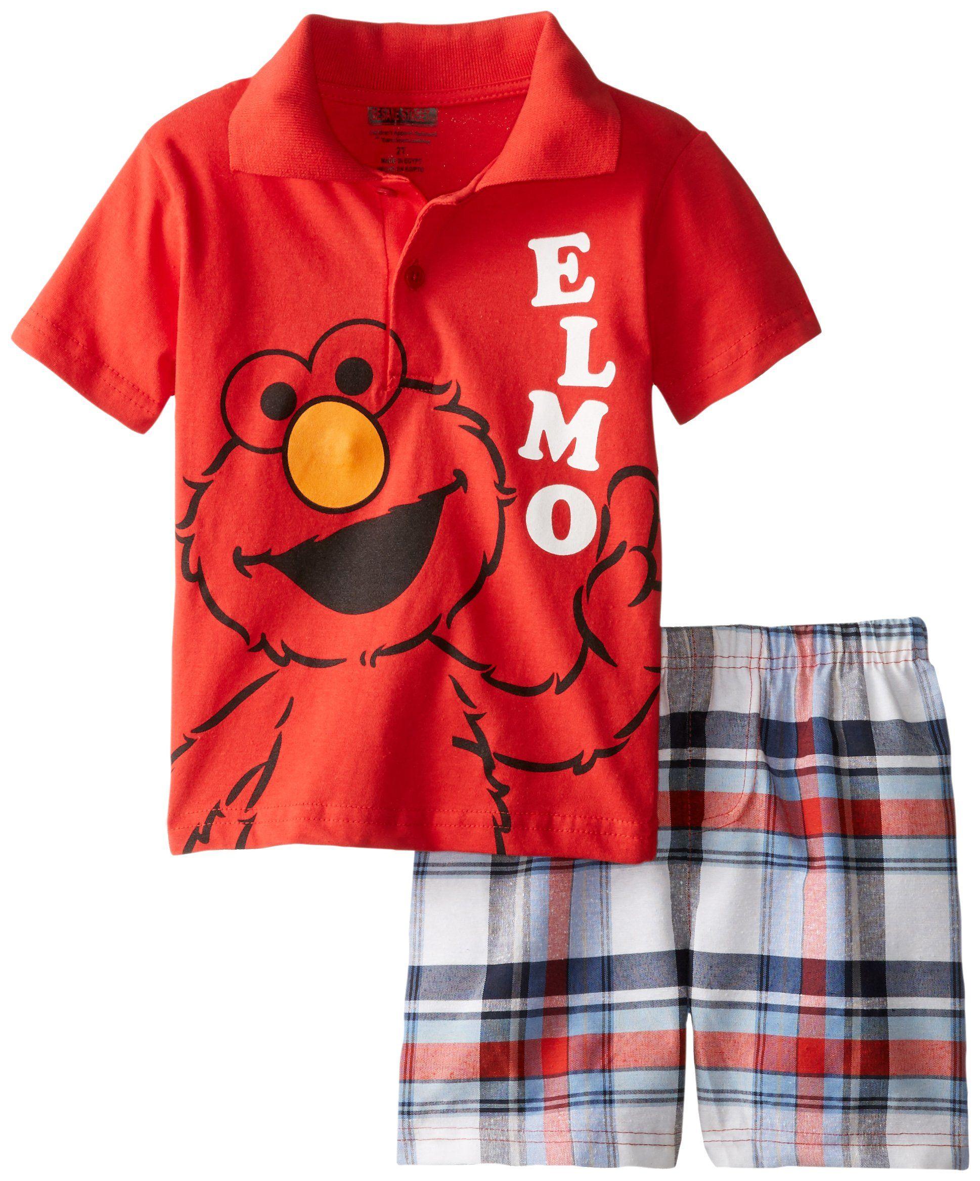Amazon Com Sesame Street Little Boys 2 Piece Elmo Polo Shirt And Plaid Short Clothing Spring T Shirts Plaid Shorts Long Sweatshirt