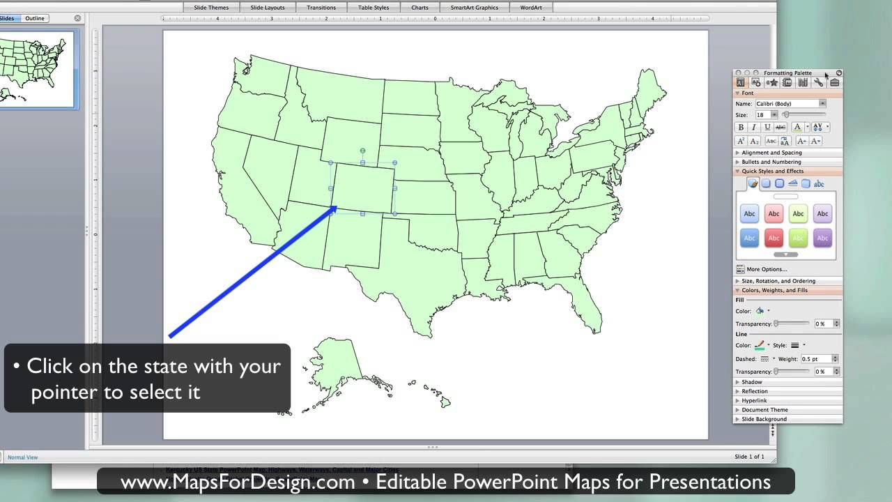 How to Highlight a State maps in a Editable PowerPoint USA ...