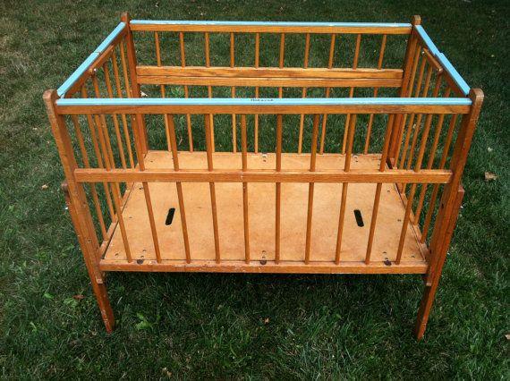 Marvelous Vintage Wood Portable Crib By Port A Crib By PrairieTreasure