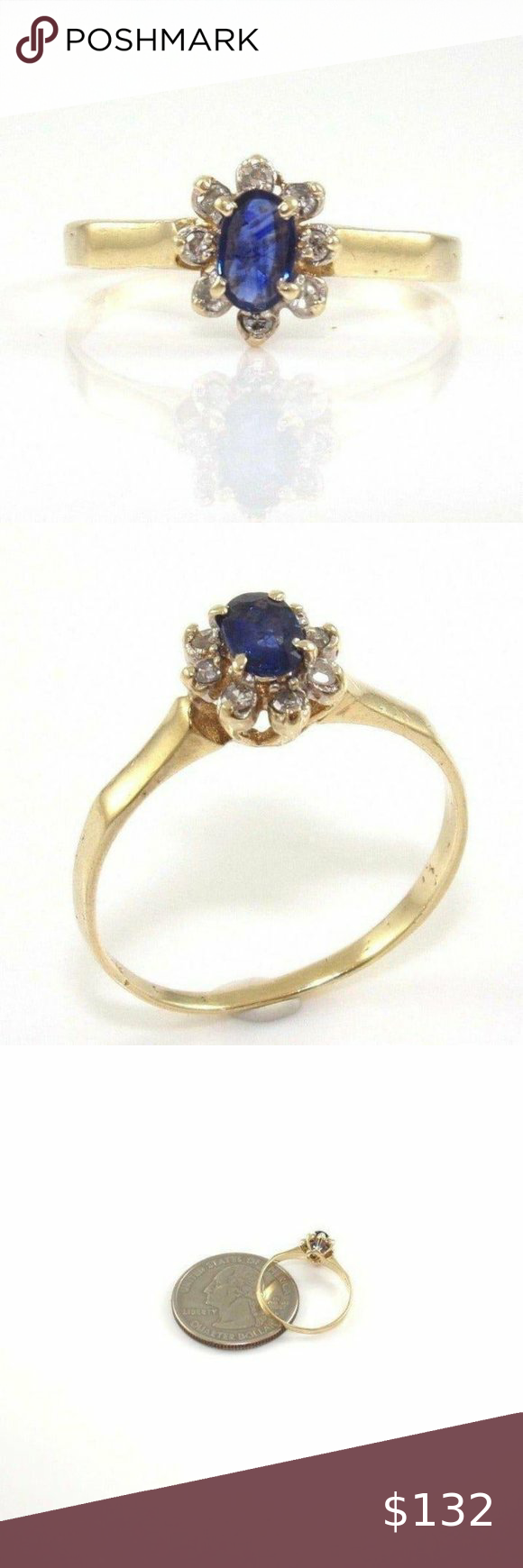 Solid 10k Gold Sapphire Diamond Ring 6 5 In 2020 Sapphire Diamond Ring Womens Jewelry Rings Sapphire Diamond