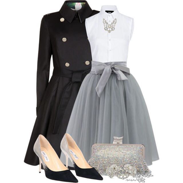 Vestido fiesta blanco y gris