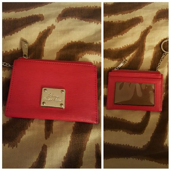 Ralph Lauren key/card case Ralph Lauren key/card case. Red leather with silver plate with the Lauren branding. Back sleeve and clear sleeve as well. two inside sleeves. cute! Ralph Lauren Bags Wallets