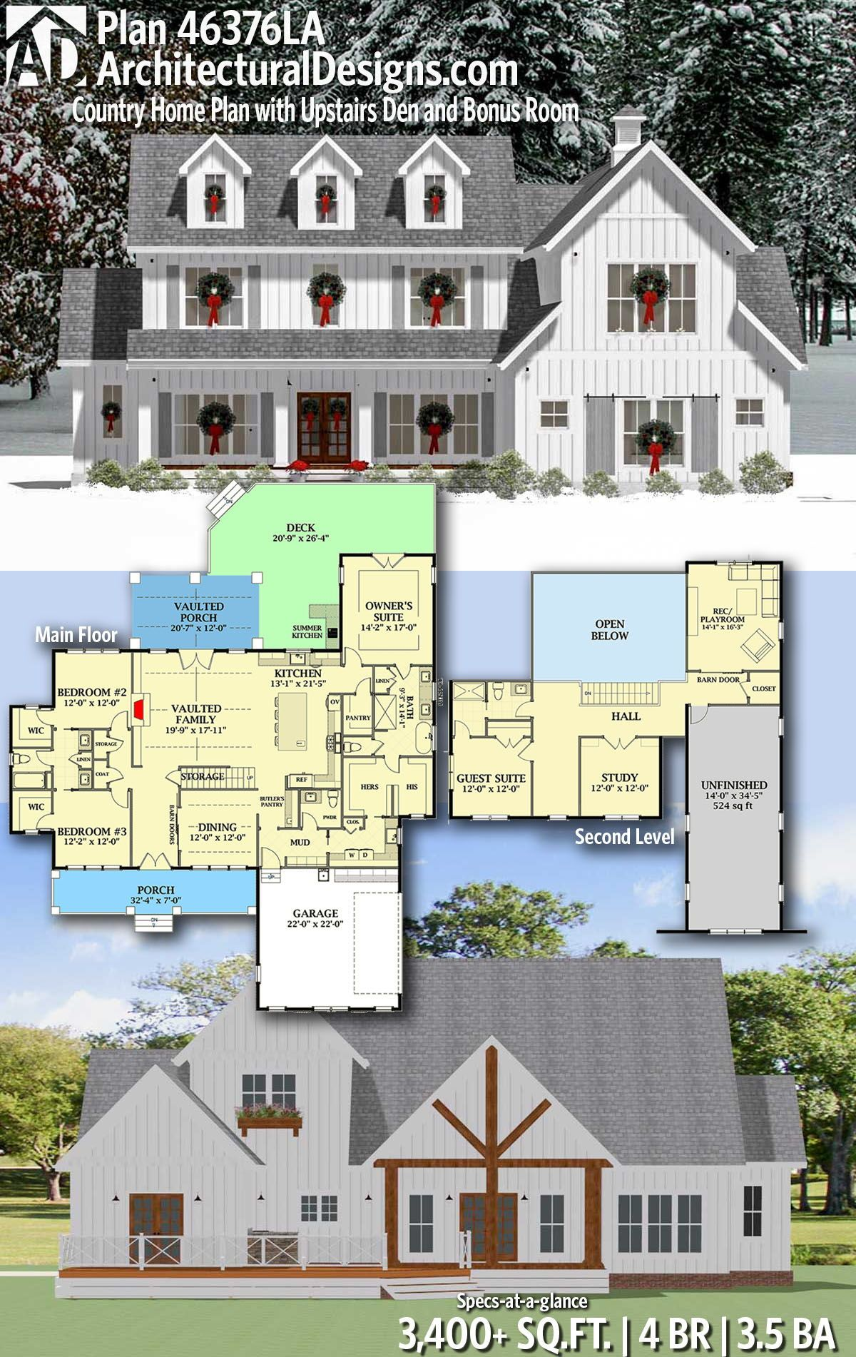 Plan 46376la Country Farmhouse Plan With Upstairs Den And Bonus Room House Plans Farmhouse Country House Plans New House Plans