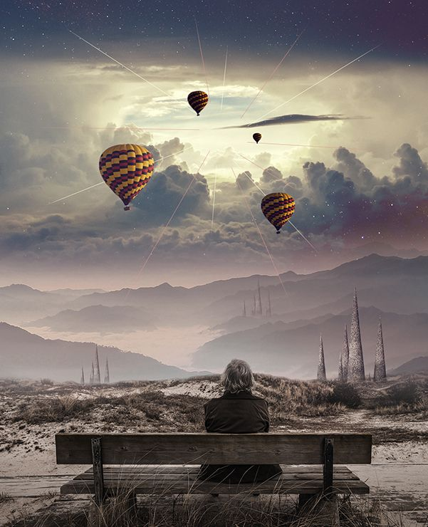 Create A Surreal Photo Manipulation Of A Man Watching A Magical - Photographer combines photoshops his own photos to create surreal landscapes