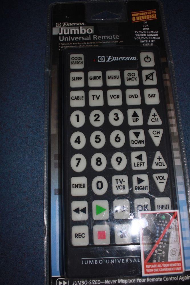 Genuine Emerson Jumbo Universal REMOTE Control *NEW* TV / VCR ...