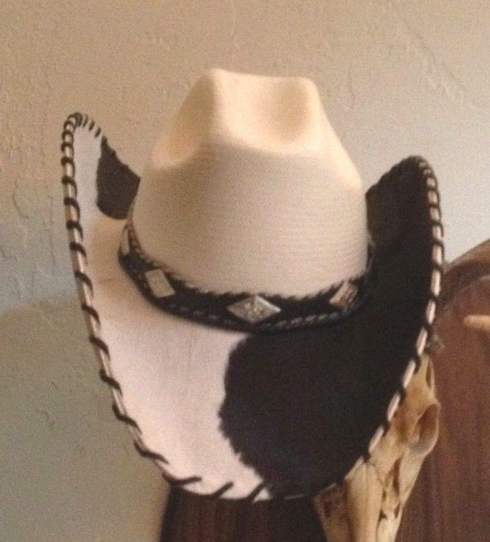 a25ef7da16c Charley 1 Horse White and Black Cowhide Straw Cowboy Western Hat 6 7 8   CowboyWestern