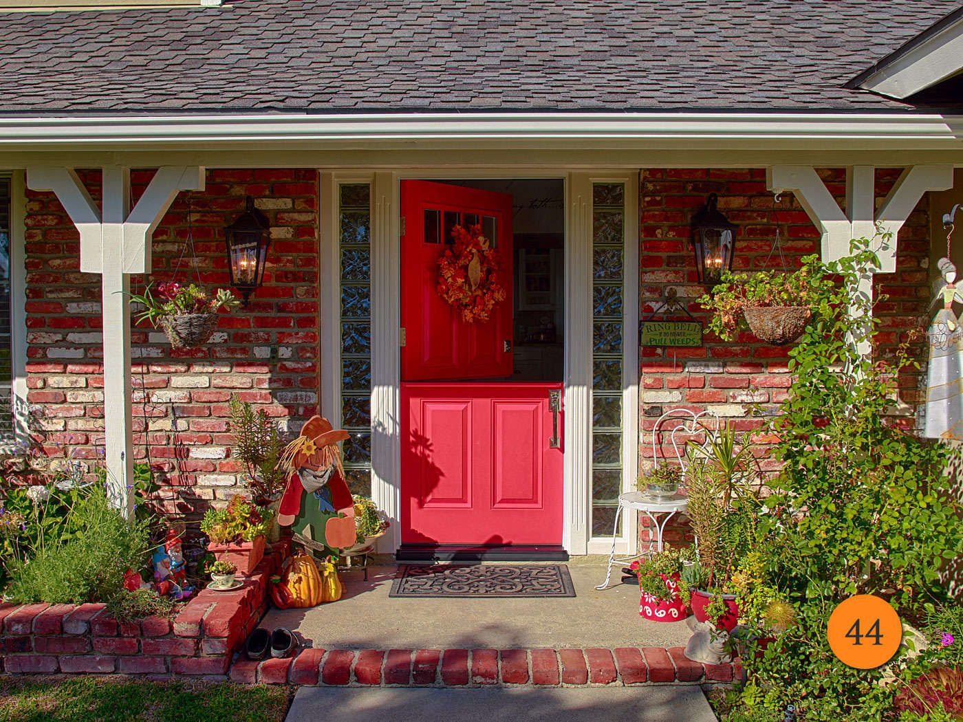Single Fiberglass Red Dutch Door With Split Finish Paint Plastpro Model Top Leaf 4 Lite Clear Glass And Panel Bottom Exterior Painted Ink