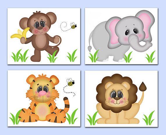 SAFARI ANIMAL PRINTS Wall Art Baby Girl Boy Jungle Nursery Decor ...