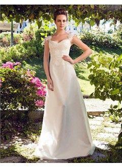 A-line Princess Sweetheart Floor-length Tulle Satin Wedding Dress