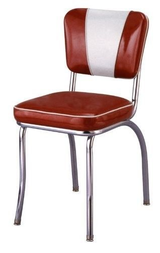 1950 S Nostalgic Retro Chrome Red And Silver V Back Diner Chair Made In Usa