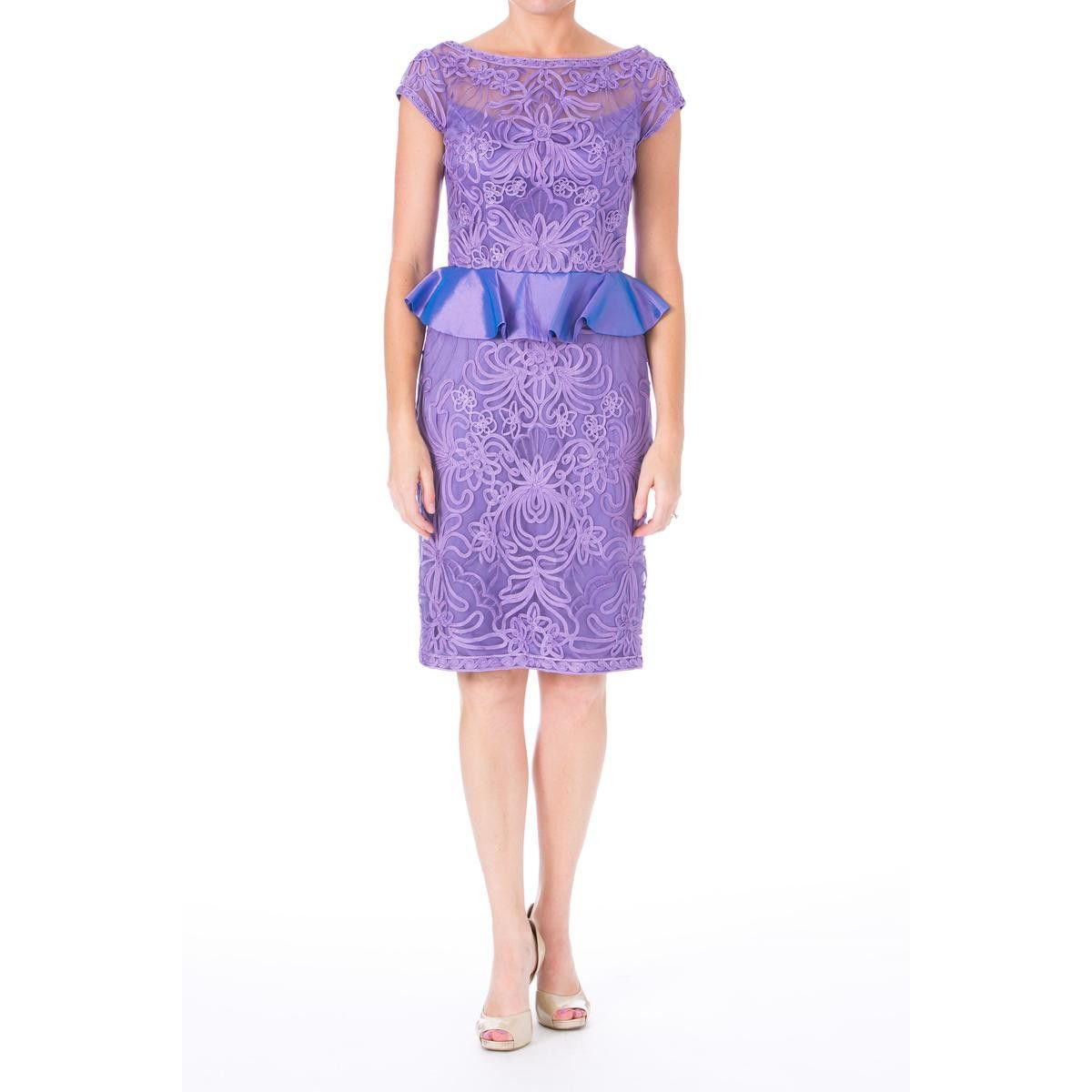 Sue Wong Womens Embroidered Peplum Cocktail Dress