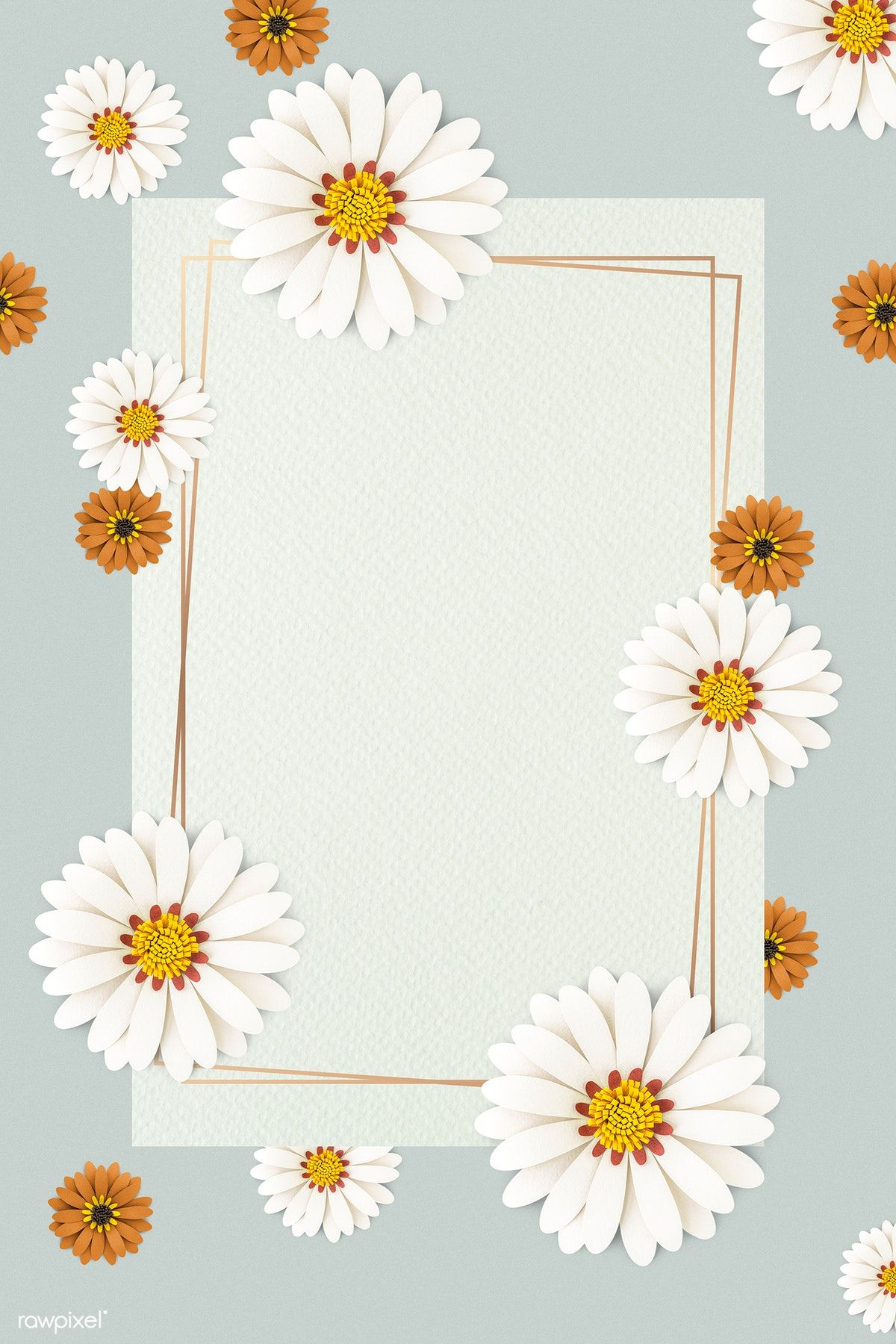 Download premium psd of White paper craft daisy flower on light blue