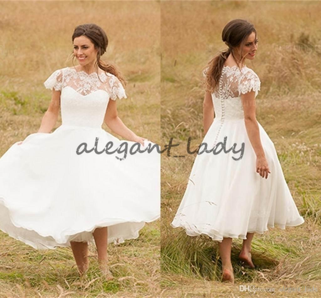 df6db13e0a Retro Vintage Tea Length Wedding Dresses Sheer Bateau Neck Lace Applique  Cap Sleeve A-Line Plus Size Organza Country Garden Bridal Gowns Overskirt  Evening ...